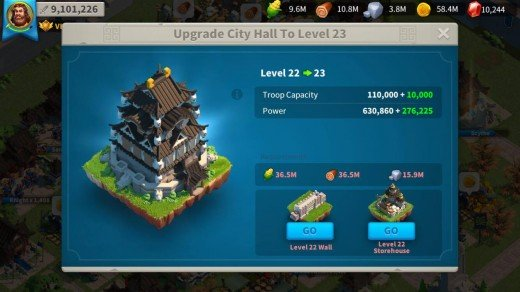 Rise Of Kingdoms Power Increase in Upgrading City Hall to Level 23