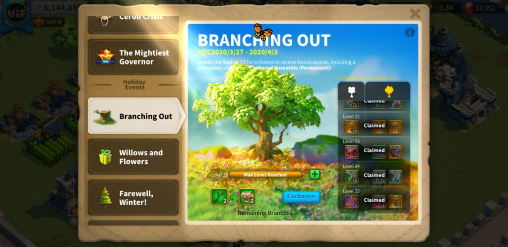 Branching out event after complete level 25 Rise of Kingdoms