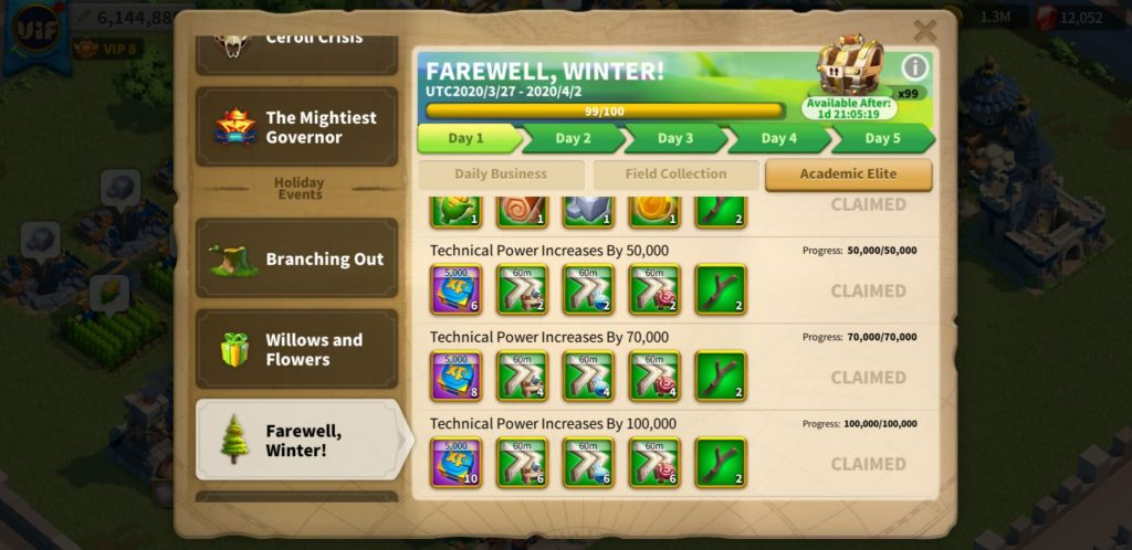 farewell winter day 1 Academic Elite Rise of Kingdoms