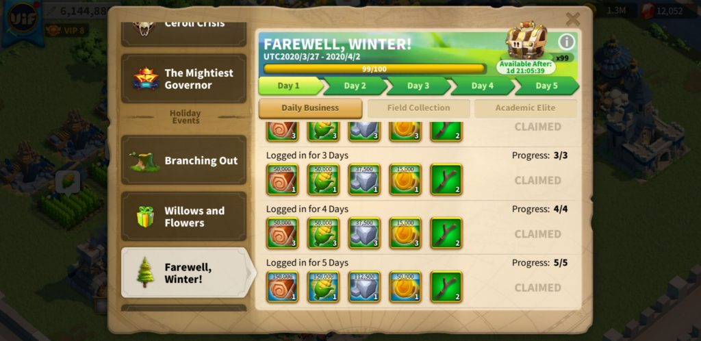 farewell winter day 1 daily business Rise of Kingdoms