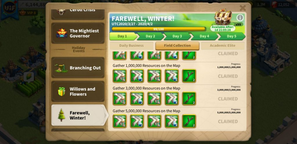 farewell winter day 1 field collection Rise of Kingdoms