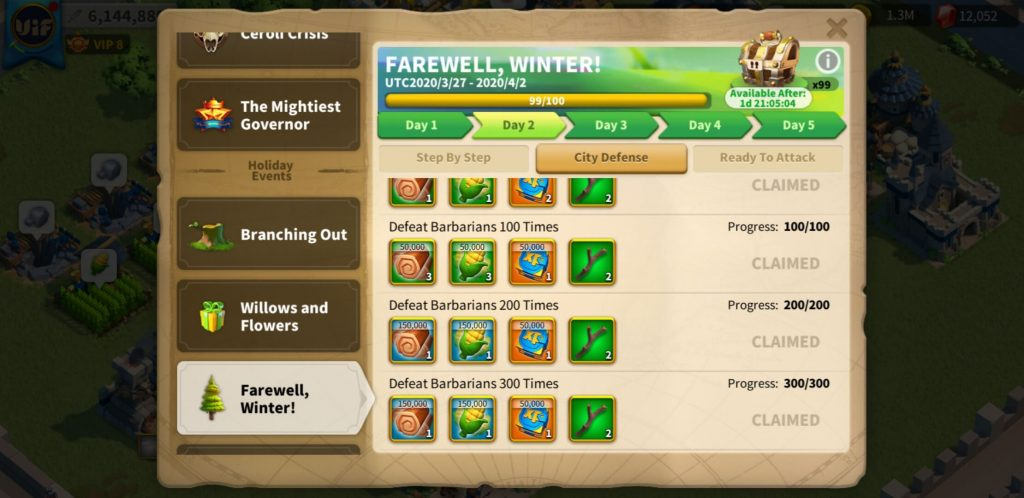 farewell winter day 2 City Defense Rise of Kingdoms