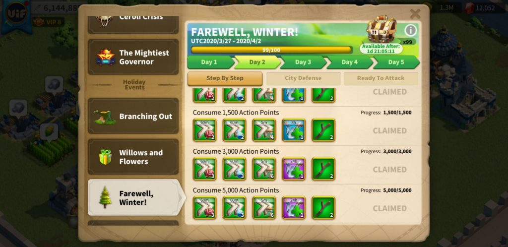 farewell winter day 2 Step by Step Rise of Kingdoms