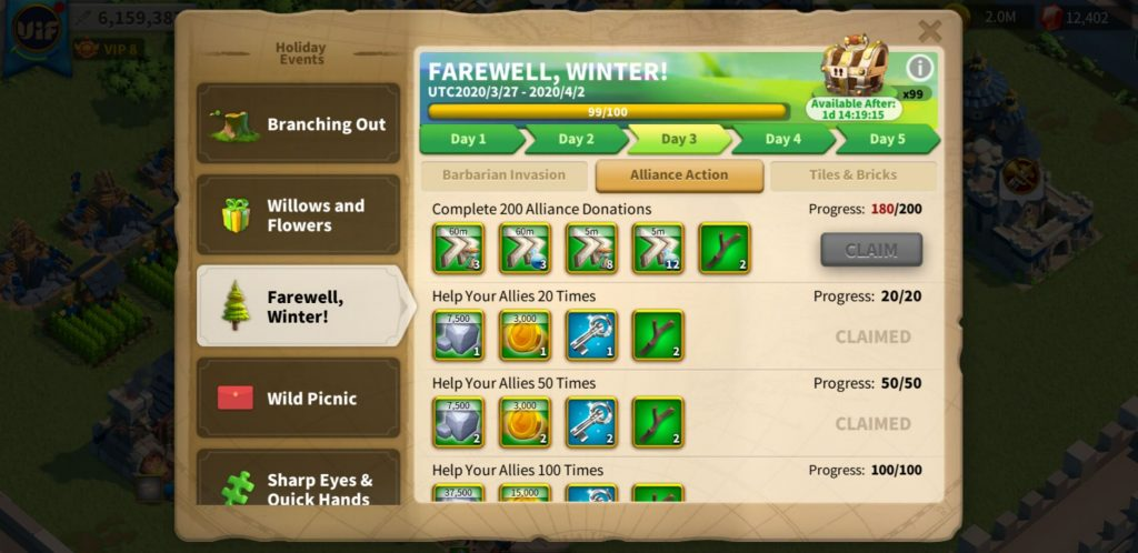 farewell winter day 3 Alliance Action Rise of Kingdoms