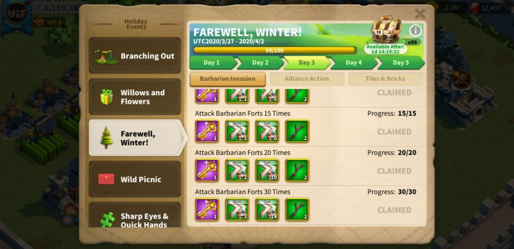 farewell winter day 3 Barbarian Invasion Rise of Kingdoms
