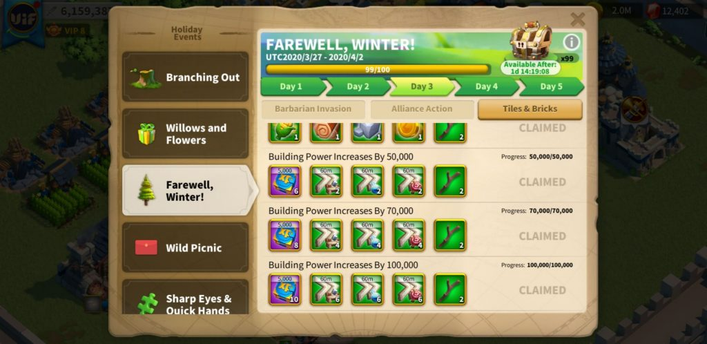 farewell winter day 3 Tiles Bricks Rise of Kingdoms