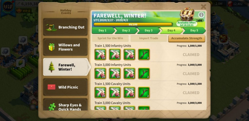farewell winter day 4 Accumulate Strength Rise of Kingdoms