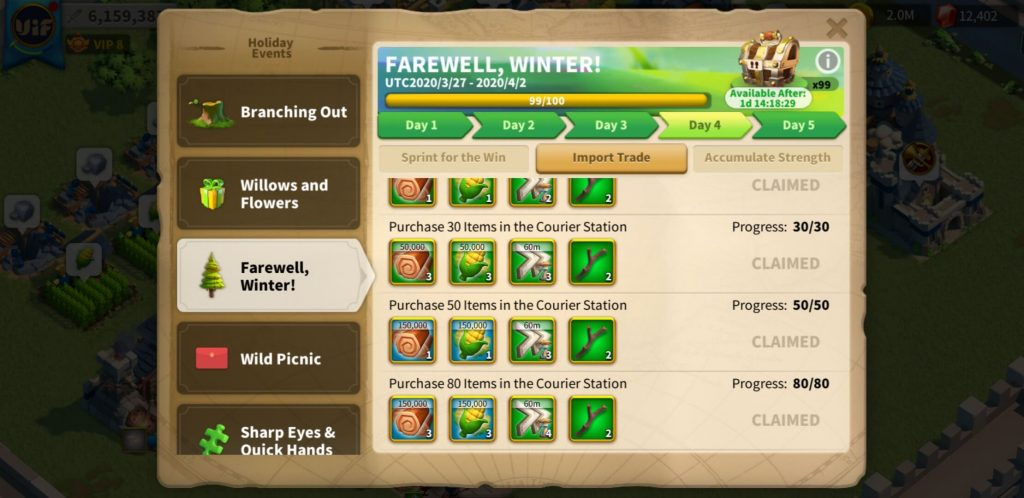 farewell winter day 4 Import Trade Rise of Kingdoms