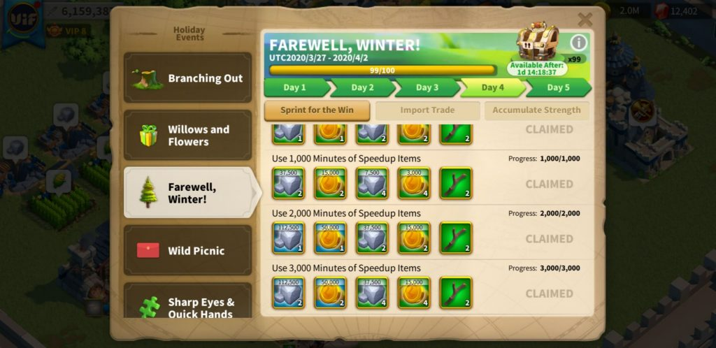 farewell winter day 4 Sprint for the win Rise of Kingdoms