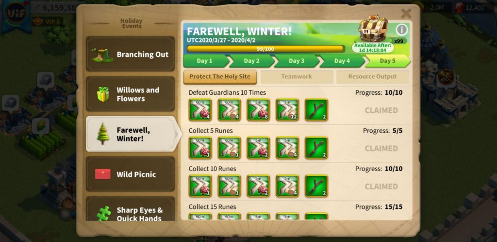 farewell winter day 5 Protect The Holy Site Rise of Kingdoms
