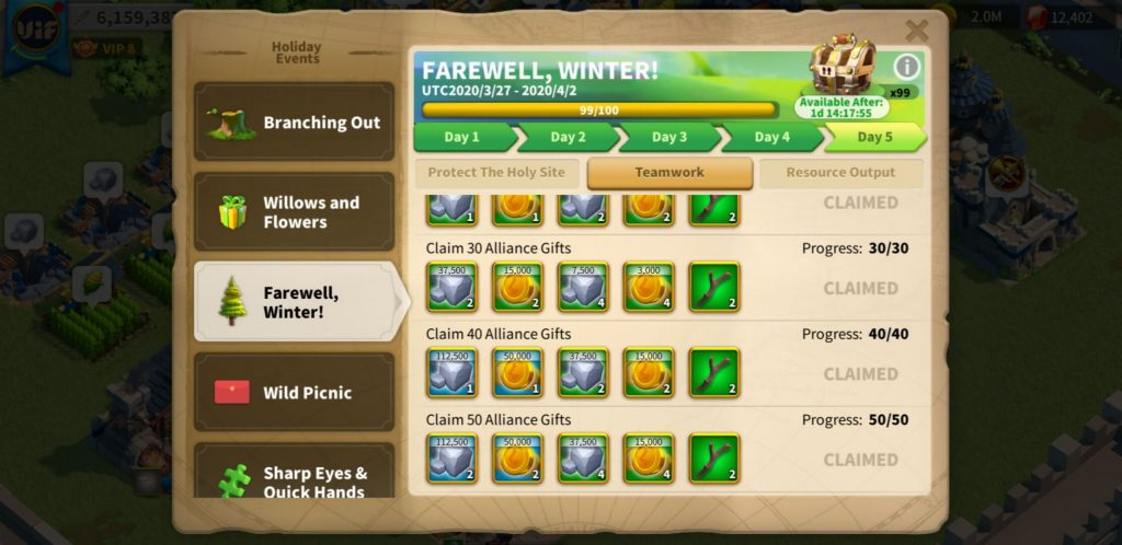 farewell winter day 5 Teamwork Rise of Kingdoms