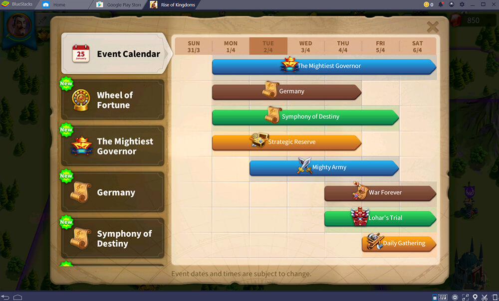 The event menu in game