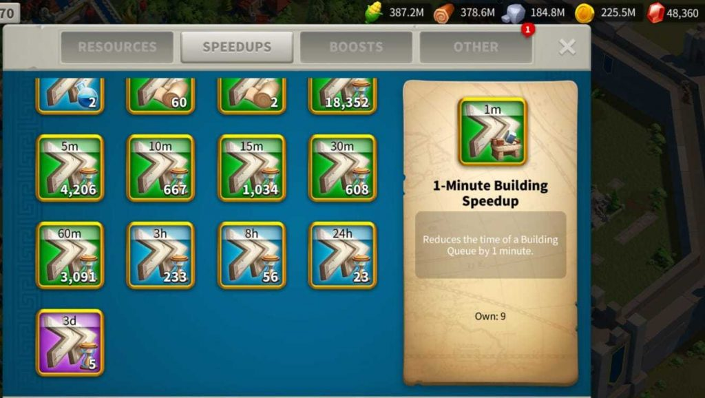 Rise of Kingdoms preparation for the lost kingdoms with resources, speedups, teleport shields