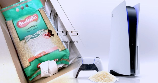 A play station 5 next to a bag of rice
