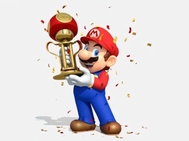 Super Mario with trophy